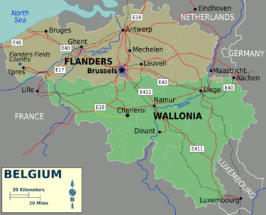 Map of Belgium Rigions
